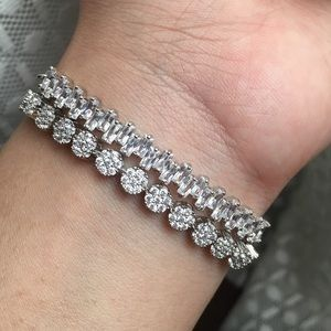 Jewelry - Two Silver Crystal Adjustable Bracelets